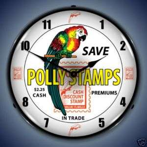 NEW POLLY STAMPS GAS ADVERTISING BACKLIT LIGHTED CLOCK