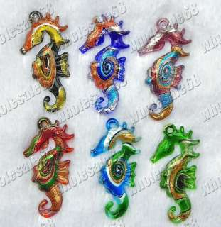 Wholesale lots 12pcs seahorse murano glass pandant FREE