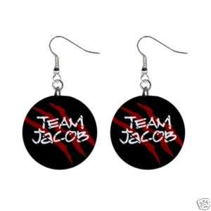 Twilight New Moon Team Jacob Button Earrings