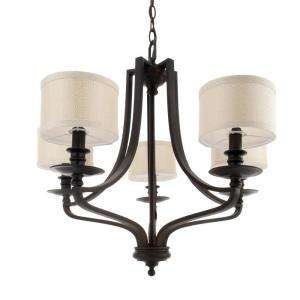 Hampton Bay 5 Light Oil Rubbed Bronze Chandelier Fabric Shades