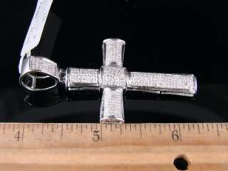 MENS WHITE GOLD FINISH DIAMOND 2.25 INCH CROSS PENDANT