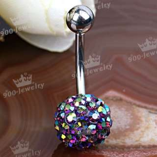 AB Purple CZ Crystal Ball Navel Belly Ring Piercing NEW