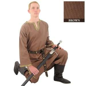 MEDIEVAL VIKING NORSEMAN SAXON Mens Knee Length Brown COTTON SHIRT