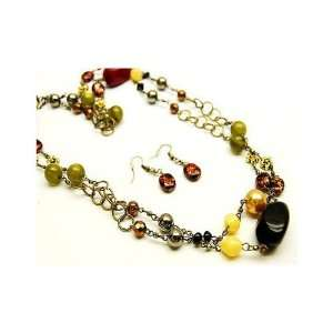 Multi Colored Beaded Double Strand 54 Necklace and 1.5 Drop Earrings