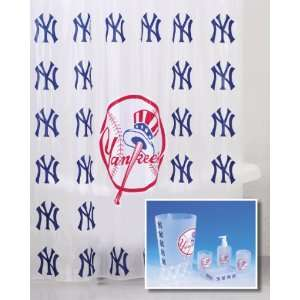 York Yankees Combo 7 Piece Frosty Bathroom Set & 3 Piece Bath Rug Set