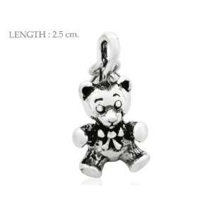 Teddy Bear 925 Sterling Silver Charm Pendant Free Lobster Claws