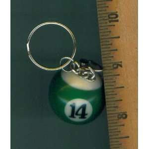 CUE BALL KEYCHAIN NUMBER 14. BILLIARD POOL CUE BALL KEY