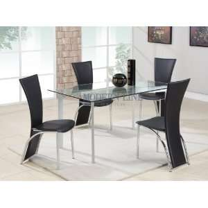 Modern Clear Tempered Glass Top Dining Table With 4 Matching Black
