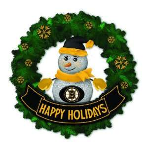 Bruins Lighted Snowman Artificial Christmas Wreath