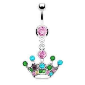 Pink jeweled belly ring with dangling multi color crown Jewelry