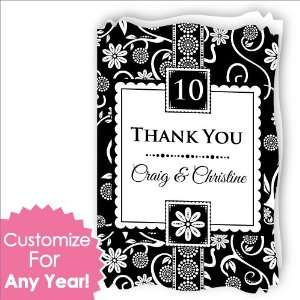 Personalized Wedding Anniversary Thank You Cards With Squiggle Shape
