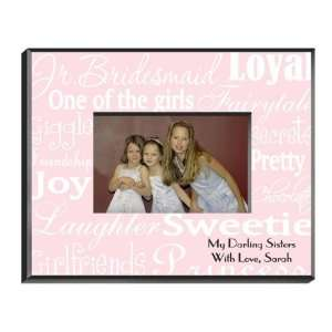 Favors Personalized Junior Bridesmaid White on Pink Picture Frame