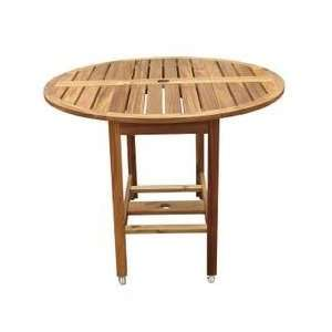 Round Outdoor Folding Table in Natural   Merry Products