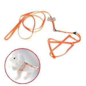 Pet Dog Collar Leash Harness Chest Strap Nylon Orange Pet