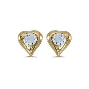 14K Yellow Gold Round Aquamarine Heart Shaped Earrings Jewelry