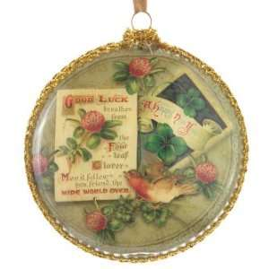 Good Luck Bird Disk Glass Christmas Ornament