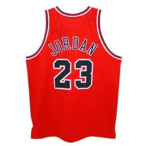 Michael Jordan Signed Autographed Red Nike Bulls Jersey