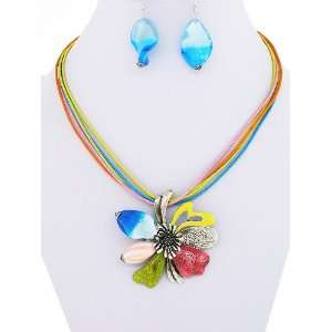 com Fashion Jewelry ~ Metal Flower Multi Color Murano Glass Necklace