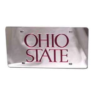 Silver W/Red OHIO STATE Mirror License Plate
