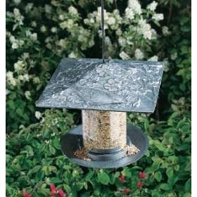 Pewter Silver 6 in. Cardinal Tube Bird Feeder Patio, Lawn