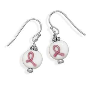 Breast Cancer Awareness Pink Ribbon on White Bead Fashion Earrings