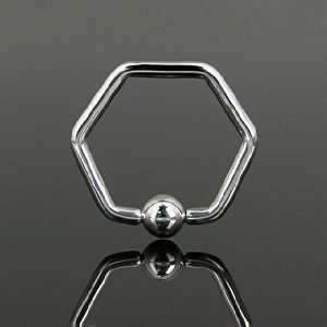 316L Surgical Steel Hexagon Captive Bead Rings   16G (1.2mm)   10mm