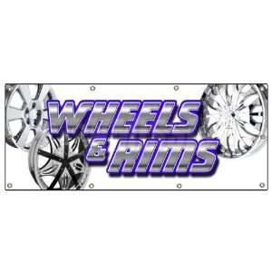 SIGN chrome rim wheel tires signs auto parts Patio, Lawn & Garden