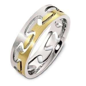 Karat Two Tone Gold Puzzle Style Unique Wedding Band Ring   4 Jewelry