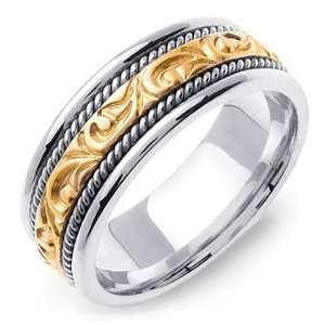 Two Tone Gold Hand Carved Paisley Design Wedding Band Ring Jewelry