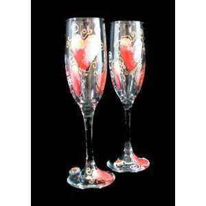 Hearts of Fire Design   Hand Painted   Set of Toasting Flutes   6 oz