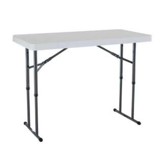 Lifetime 80160 4 Foot Commercial Adjustable Height Folding Table White