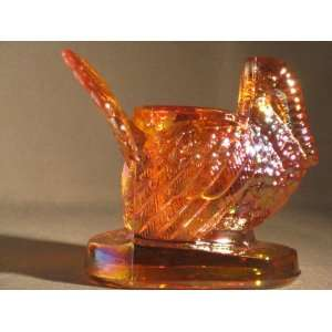 Honey Amber Glass Turkey Toothpick Holder