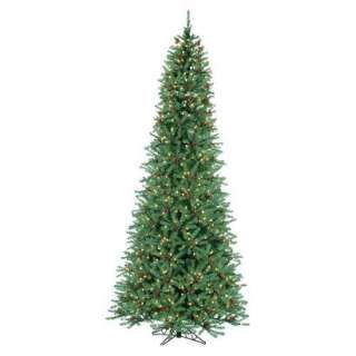 Pre Lit Narrow Diamond Fir Tree Clear Lights   Green (15).Opens in a