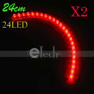 24 LED Strip Car Lights Flexible Grill Light Red New