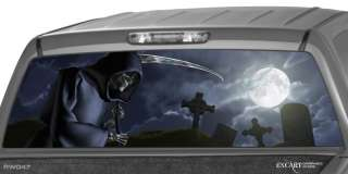GRIM REAPER Cemetery Rear Window Graphic Tint Decal Sticker Truck Suv