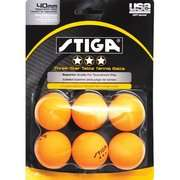 Table Tennis Ball (Pack of 6) Stiga Two Star Orange Table Tennis Ball