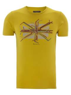 Mens Ben Sherman T Shirt Union Jack Drink Straws Graphic Print