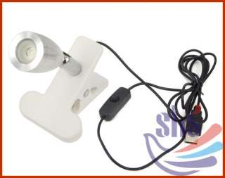 White 360 degree Rotatable LED USB Lamp Night light Torch with Clip