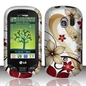 Brown Red Autumn Flower Design Rubberized Coating Snap on Hard Skin